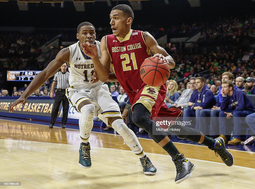 <a gi-track='captionPersonalityLinkClicked' href=/galleries/search?phrase=Olivier+Hanlan&family=editorial&specificpeople=10135196 ng-click='$event.stopPropagation()'>Olivier Hanlan</a> #21 of the Boston College Eagles drives to the basket against Demetrius Jackson #11 of the Notre Dame Fighting Irish at Purcell Pavilion on February 4, 2015 in South Bend, Indiana. Notre Dame defeated Boston College 71-63.