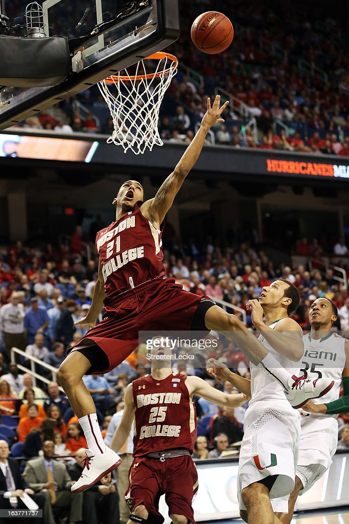 Olivier Hanlan #21 of the Boston College Eagles goes to the basket against the Miami Hurricanes during the quarterfinals of the ACC Men's Basketball Tournament at the Greensboro Coliseum on March 15, 2013 in Greensboro, North Carolina.