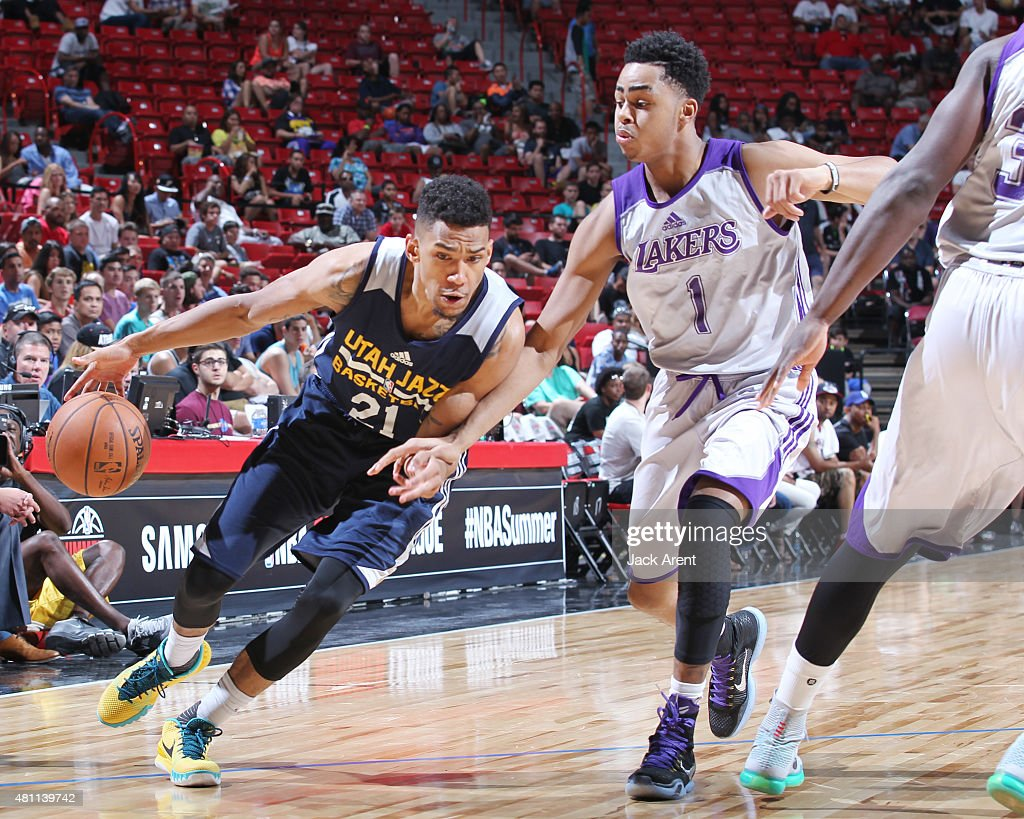 <a gi-track='captionPersonalityLinkClicked' href=/galleries/search?phrase=Olivier+Hanlan&family=editorial&specificpeople=10135196 ng-click='$event.stopPropagation()'>Olivier Hanlan</a> #21 of the UTah jazz handles the ball against the Los Angeles Lakers on July 17, 2015 at the Thomas & Mack Center in Las Vegas, Nevada.