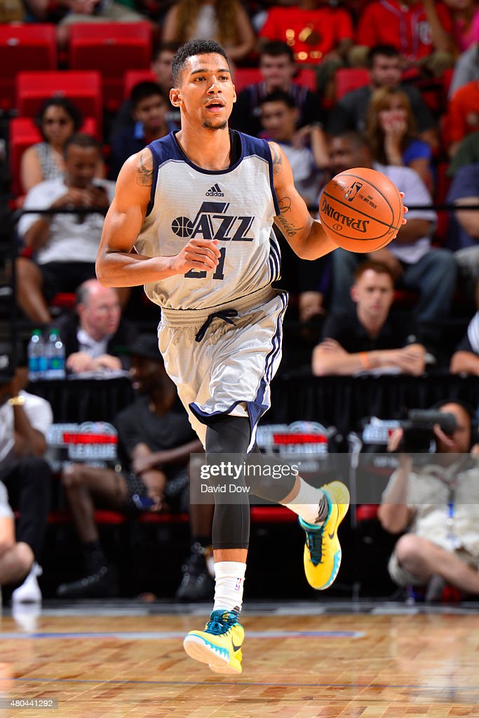 <a gi-track='captionPersonalityLinkClicked' href=/galleries/search?phrase=Olivier+Hanlan&family=editorial&specificpeople=10135196 ng-click='$event.stopPropagation()'>Olivier Hanlan</a> #21 of the Utah Jazz handles the ball against the Miami Heat on July 11, 2015 at the Cox Pavilion in Las Vegas, Nevada.