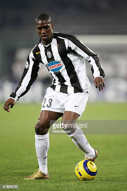 Olivier Kapo of Juventus in action during the UEFA Champions League Group C match between Juventus and Ajax at the Stadio Delle Alpi on November 23...