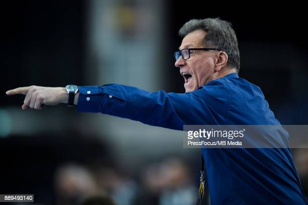Olivier Krumbholz head coach of team France reacts during IHF Women's Handball World Championship round of 16 match between Hungary and France on...