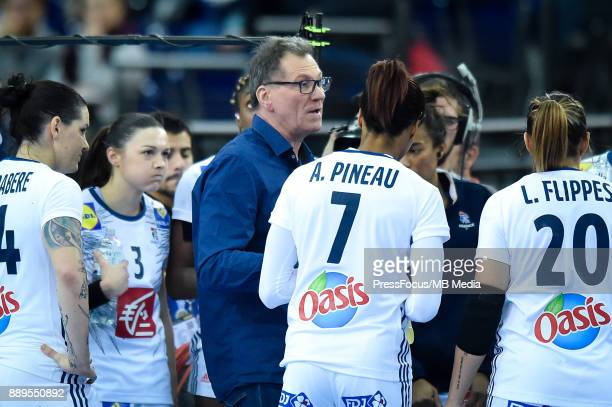 Olivier Krumbholz head coach of team France talks with the team during IHF Women's Handball World Championship round of 16 match between Hungary and...