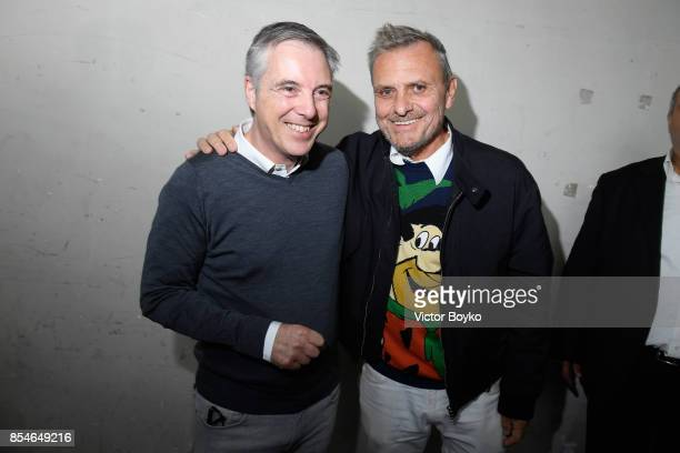 Olivier Lapidus and Jean Charles de Castelbajac backstage prior the Lanvin show as part of the Paris Fashion Week Womenswear Spring/Summer 2018 on...