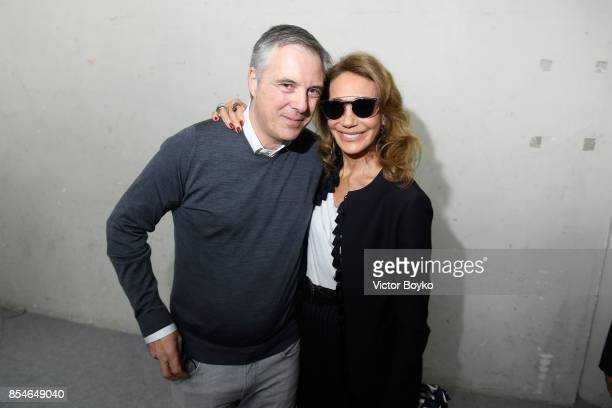 Olivier Lapidus and Marisa Berenson backstage prior the Lanvin show as part of the Paris Fashion Week Womenswear Spring/Summer 2018 on September 27...