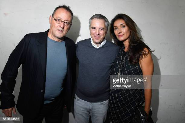 Olivier Lapidus Jean Reno and Zofia Borucka backstage prior the Lanvin show as part of the Paris Fashion Week Womenswear Spring/Summer 2018 on...