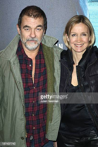 Olivier Marchal and his wife Catherine attend the 'Tinker Tailor Soldier Spy' Paris premiere at cinema UGC Normandie on January 20 2012 in Paris...
