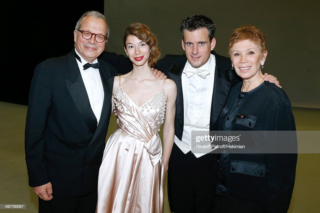 Olivier Meyer with his wife Dance Director of the 'Opera de Paris' Brigitte Lefevre and their daughter Mathilde Meyer, Musical Direction of the show Philippe Jordan (2nd R) attend the AROP Charity Gala. Held at Opera Bastille on May 21, 2014 in Paris, France.