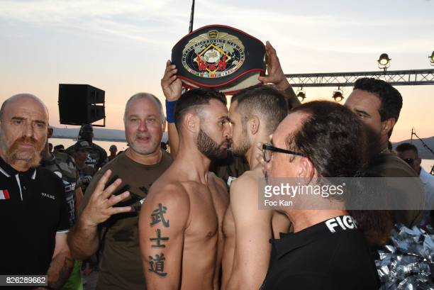 Olivier Muller and fighters Yohan Lindon and Florian Kroger attend the Fight Night Weighing Party at La Bouillabaisse Saint Tropez on August 3 2017...