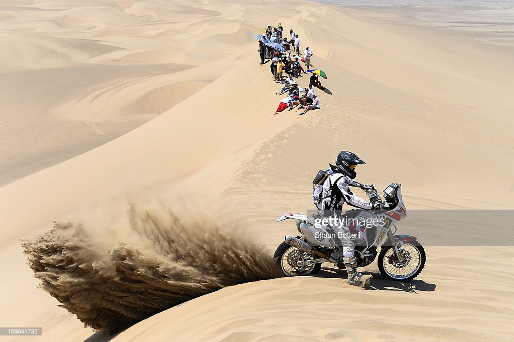 Olivier Mutelet of team Al Desert competes during the stage from Pisco to Pisco on day two of the 2013 Dakar Rally on January 6, 2013 in Pisco, Peru.