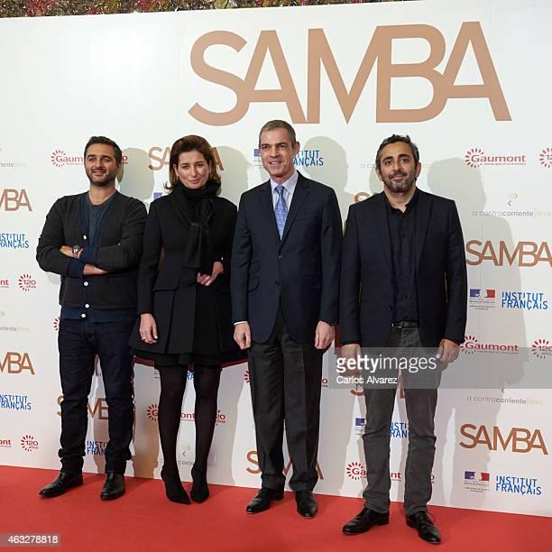 Olivier Nakache Gaumont Film Company President Sidonie Dumas French ambassador to Spain Jerome Bonnafont and Eric Toledano attend the 'Samba'...