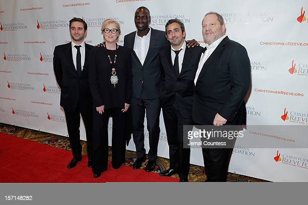Olivier Nakache Meryl Streep Omar Sy and Eric Toledano and Harvey Weinstein attend the Christopher Dana Reeve Foundation's A Magical Evening Gala at...