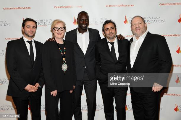 Olivier Nakache Meryl Streep Omar Sy Eric Toledano and Harvey Weinstein attend the Christopher Dana Reeve Foundation's A Magical Evening Gala at...