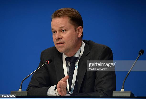 Olivier Niggli Chief Operating Officer and General Counsel of WADA addresses the ASOIF General Assembly during the third day of SportAccord...