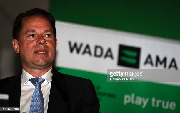 Olivier Niggli Chief Operating Officer and General Counsel speaks during the 2016 World AntiDoping Agency media symposium at Lord's cricket ground in...