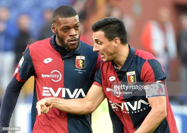 Olivier Ntcham and Nicolas Burdisso of Genoa during the Serie A match between Genoa CFC and Bologna FC at Stadio Luigi Ferraris on February 26 2017...