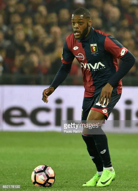 Olivier Ntcham in action during the Serie A match between Genoa CFC and UC Sampdoria at Stadio Luigi Ferraris on March 11 2017 in Genoa Italy