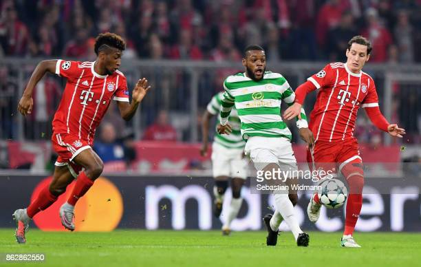 Olivier Ntcham of Celtic and Sebastian Ruby of Bayern Muenchen battle for posession during the UEFA Champions League group B match between Bayern...