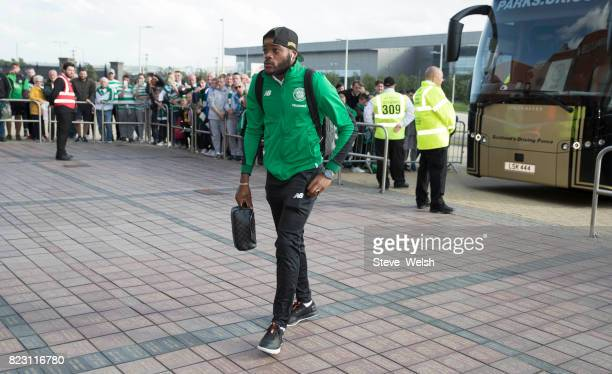 Olivier Ntcham of Celtic arrives at Celtic Park before their UEFA Champions League Qualifying Third RoundFirst Leg match between Celtic and Rosenborg...