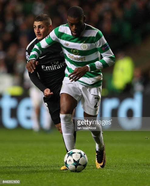 Olivier Ntcham of Celtic controls the ball during the UEFA Champions League Group B match Between Celtic and Paris SaintGermain at Celtic Park on...