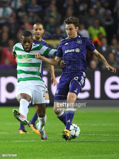 Olivier Ntcham of Celtic FC fights for the ball with Pieter Gerkens of RSC Anderlecht during the UEFA Champions League Group B football match RSC...
