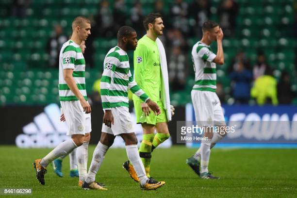 Olivier Ntcham of Celtic walks off dejected after the UEFA Champions League Group B match between Celtic and Paris Saint Germain at Celtic Park on...