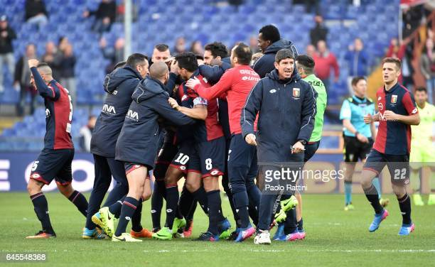 Olivier Ntcham of Genoa celebrates after scoring goal 11 during the Serie A match between Genoa CFC and Bologna FC at Stadio Luigi Ferraris on...