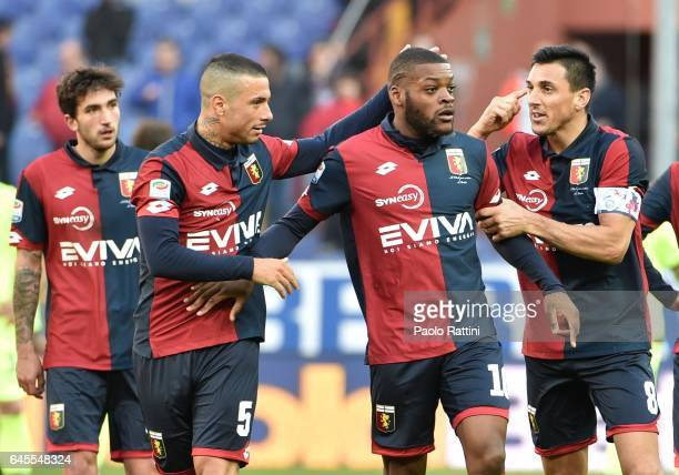 Olivier Ntcham of Genoa celebrates after scoring gol 11 during the Serie A match between Genoa CFC and Bologna FC at Stadio Luigi Ferraris on...
