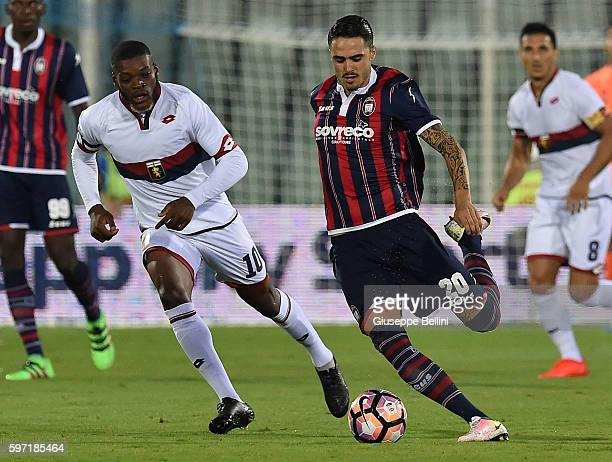 Olivier Ntcham of Genoa CFC and Aniello Salsano of FC Crotone in action during the Serie A match between FC Crotone and Genoa CFC at Adriatico...