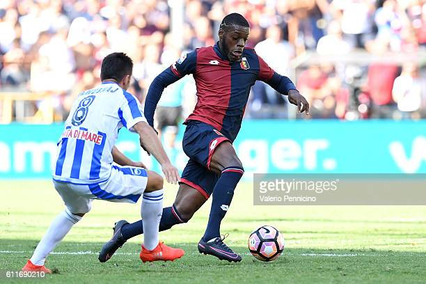 Olivier Ntcham of Genoa CFC in action against Ledian Memushaj of Pescara Calcio during the Serie A match between Genoa CFC and Pescara Calcio at...
