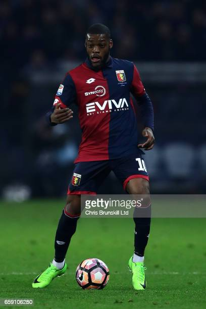 Olivier Ntcham of Genoa CFC in action during the Serie A match between Genoa CFC and UC Sampdoria at Stadio Luigi Ferraris on March 11 2017 in Genoa...