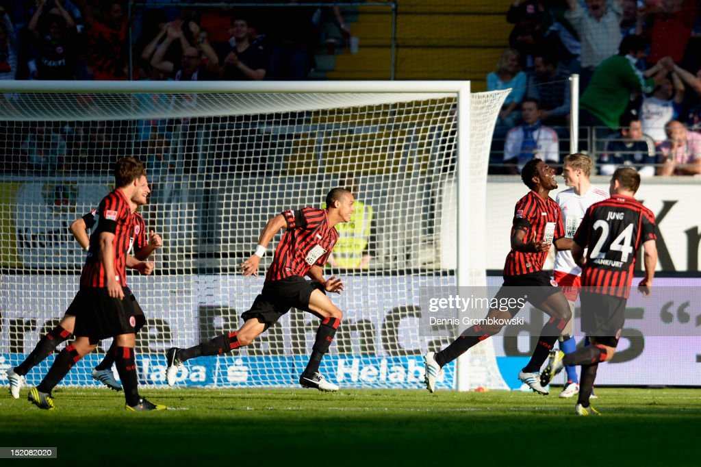 <a gi-track='captionPersonalityLinkClicked' href=/galleries/search?phrase=Olivier+Occean&family=editorial&specificpeople=747391 ng-click='$event.stopPropagation()'>Olivier Occean</a> of Frankfurt celebrates after scoring his team's second goal during the Bundesliga match between Eintracht Frankfurt and Hamburger SV at Commerzbank-Arena on September 16, 2012 in Frankfurt am Main, Germany.