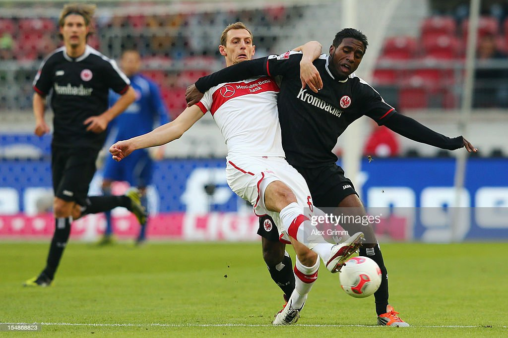 <a gi-track='captionPersonalityLinkClicked' href=/galleries/search?phrase=Olivier+Occean&family=editorial&specificpeople=747391 ng-click='$event.stopPropagation()'>Olivier Occean</a> (R) of Frankfurt is challenged by <a gi-track='captionPersonalityLinkClicked' href=/galleries/search?phrase=Georg+Niedermeier&family=editorial&specificpeople=5543183 ng-click='$event.stopPropagation()'>Georg Niedermeier</a> of Stuttgart during the Bundesliga match between VfB Stuttgart and Eintracht Frankfurt at Mercedes-Benz Arena on October 28, 2012 in Stuttgart, Germany.