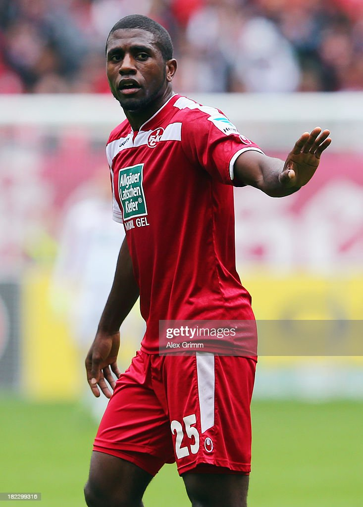 <a gi-track='captionPersonalityLinkClicked' href=/galleries/search?phrase=Olivier+Occean&family=editorial&specificpeople=747391 ng-click='$event.stopPropagation()'>Olivier Occean</a> of Kaiserslautern reacts during the Second Bundesliga match between 1. FC Kaiserslautern and TSV 1860 Muenchen at Fritz-Walter-Stadion on September 29, 2013 in Kaiserslautern, Germany.