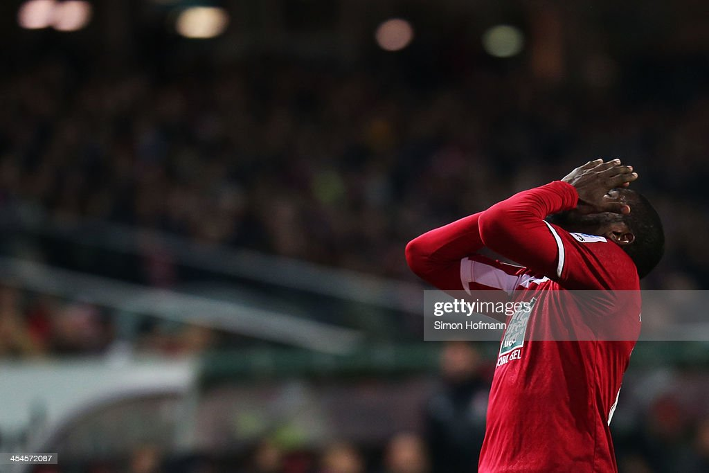 <a gi-track='captionPersonalityLinkClicked' href=/galleries/search?phrase=Olivier+Occean&family=editorial&specificpeople=747391 ng-click='$event.stopPropagation()'>Olivier Occean</a> of Kaiserslautern reacts during the Second Bundesliga match between 1. FC Kaiserslautern and Fortuna Duesseldorf at Fritz-Walter-Stadion on December 9, 2013 in Kaiserslautern, Germany.