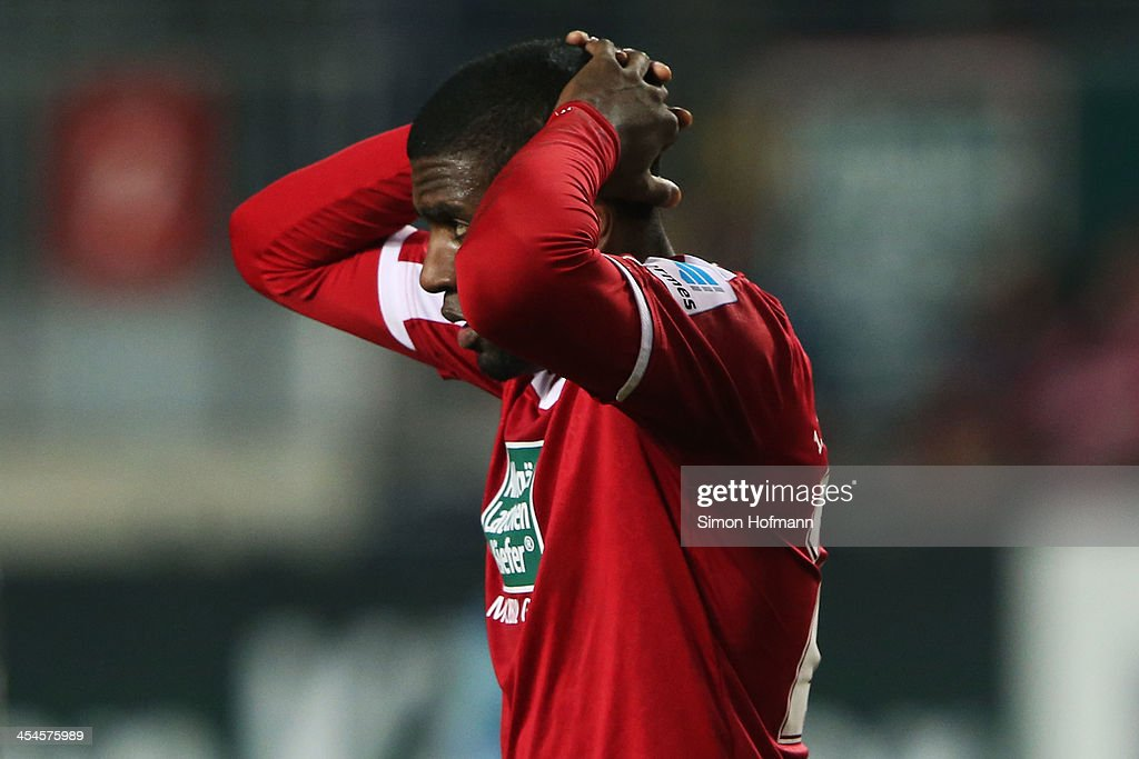 Olivier Occean of Kaiserslautern reacts during the Second Bundesliga match between 1. FC Kaiserslautern and Fortuna Duesseldorf at Fritz-Walter-Stadion on December 9, 2013 in Kaiserslautern, Germany.