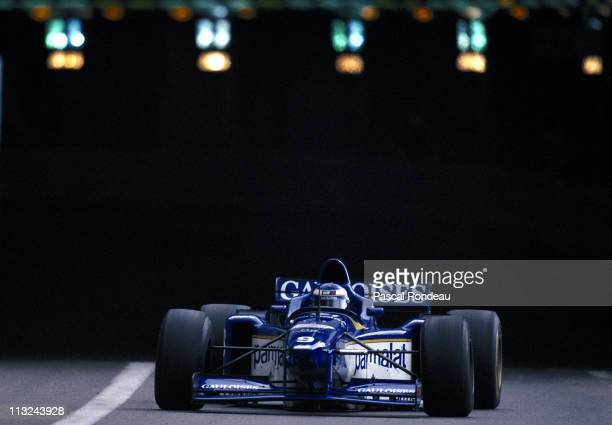 Olivier Panis drives the Equipe Ligier Gauloises Blondes Ligier JS43 MugenHonda 30 V10 to victory at the Grand Prix of Monaco on 19th May 1996 on the...