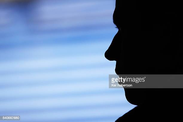 Olivier Panis the Panis Barthez Competition coowner talks at a press conference before qualifying for the Le Mans 24 Hour race at the Circuit de la...