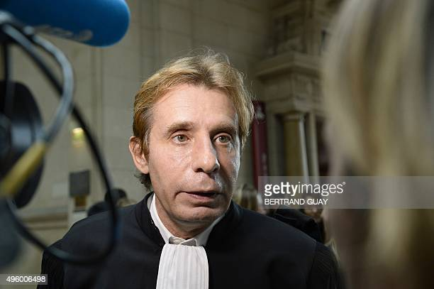 Olivier Pardo lawyer of French journalist and writer Eric Zemmour speaks to the press at the Criminal Court in Paris on November 6 where his client...