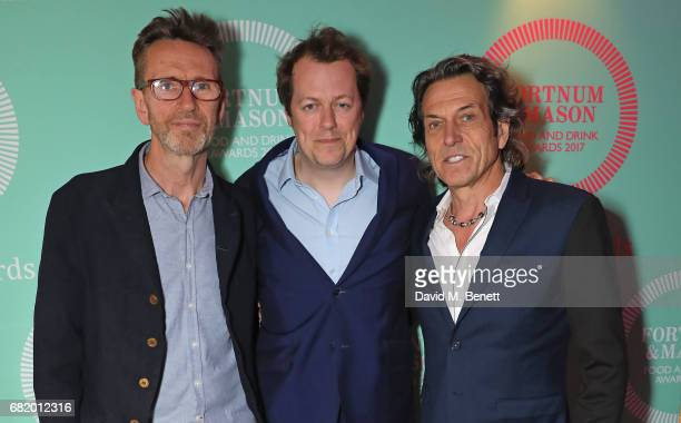 Olivier Peyton Tom Parker Bowles and Stephen Webster at the fifth annual Fortnum Mason Food and Drink Awards on May 11 2017 in London England