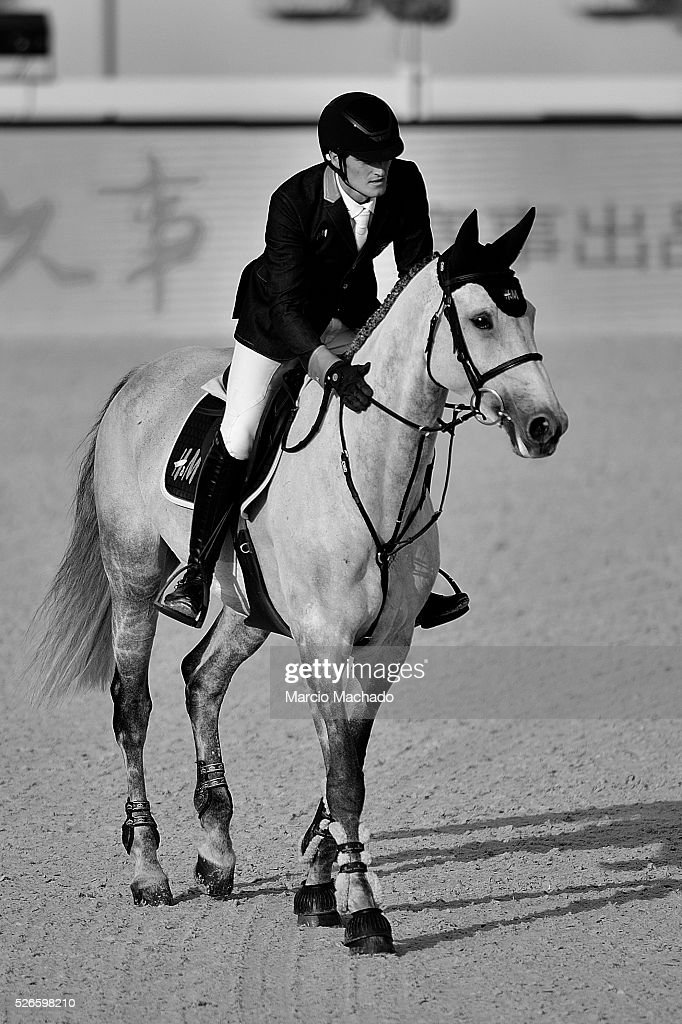 Olivier Philippaerts of Belgium hiding H&M Henna de Goedereede during the Longines Global Champions Tour of Shanghai day 2 jump-off 1.60 m height on April 30, 2016 in Shanghai, China.