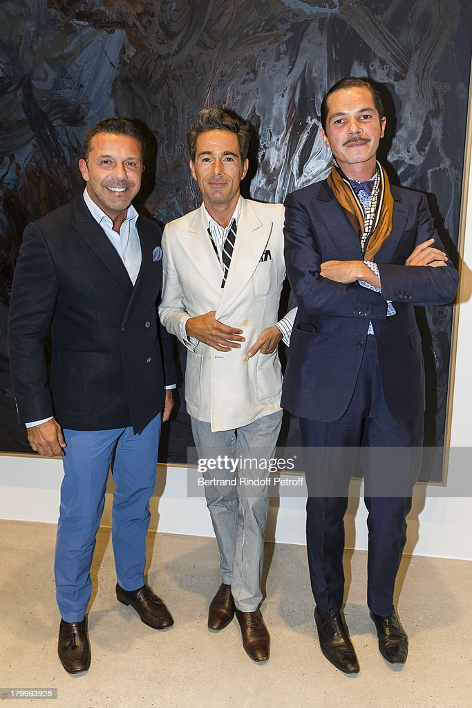 Olivier Picasso, Vincent Darre and Elie Top attend the Georg Baselitz exhibition preview and dinner at Thaddeus Ropac Gallery on September 7, 2013 in Pantin, east of Paris, France. The exhibition opens on September 8.