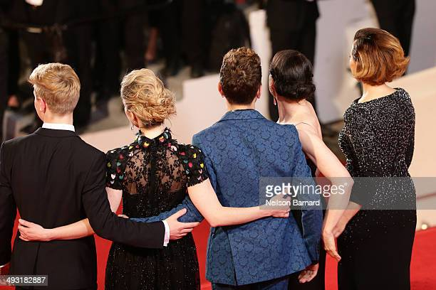 Olivier Pilon Nancy Grant director Xavier Dolan Anne Dorval and Suzanne Clement attend the 'Mommy' premiere during the 67th Annual Cannes Film...