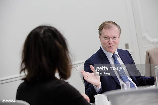 Olivier Piou chief executive officer of Gemalto NV gestures as he speaks during an interview in Paris France on Monday Jan 11 2016 Gemalto designs...