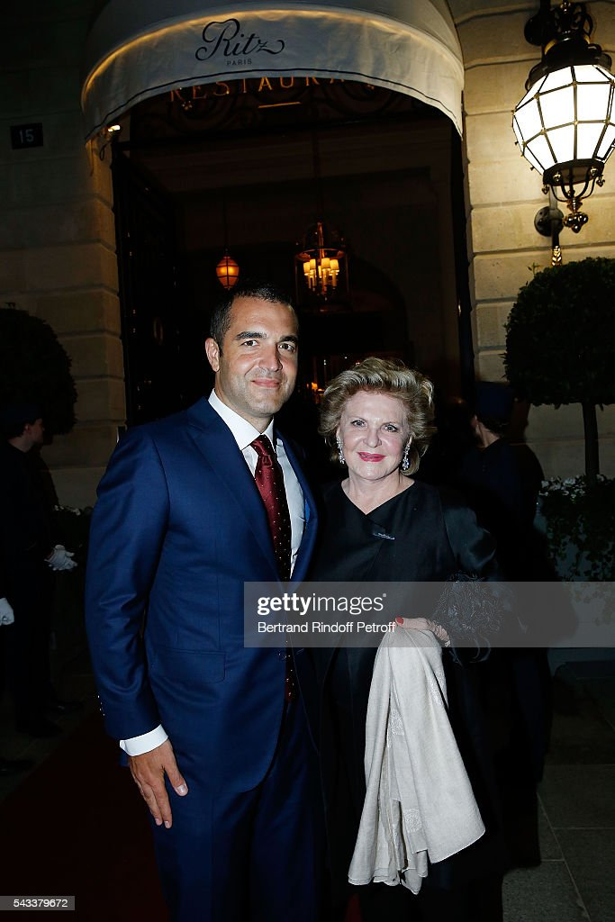 Olivier Reza and his mother Karin Reza and guest attend the 'Colonne Vendome' Is Unveiled After Restoration Works on June 27, 2016 in Paris, France.