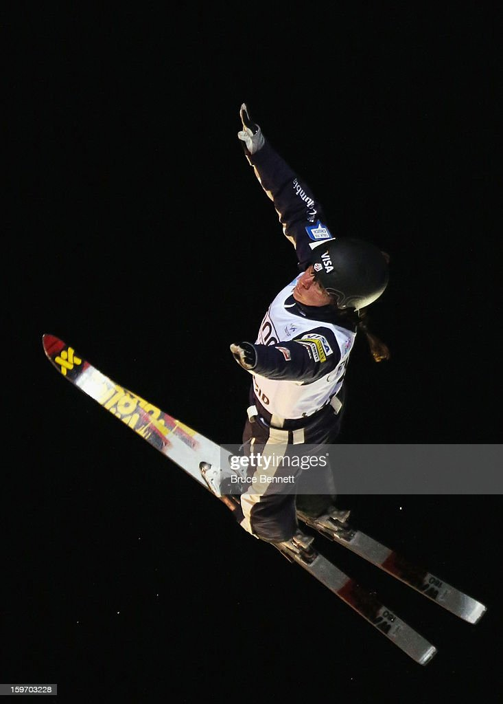 Olivier Rochon #5 of Canada jumps in the USANA Freestyle World Cup aerial competition at the Lake Placid Olympic Jumping Complex on January 18, 2013 in Lake Placid, New York.