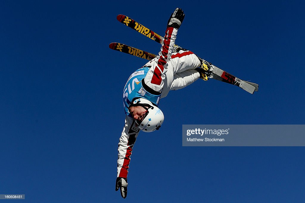 Olivier Rochon #10 of Canada jumps while training for the Mens Aerials during the Visa Freestyle International at Deer Valley on February 1, 2013 in Park City, Utah.
