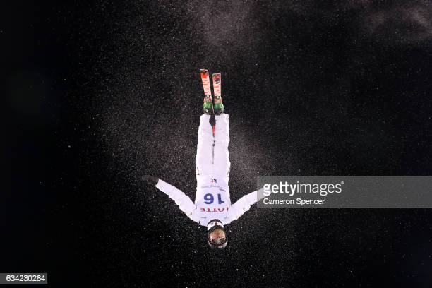 Olivier Rochon of Canada performs an aerial during an Aerials training session prior to the FIS Freestyle World Cup at Bokwang Snow Park on February...