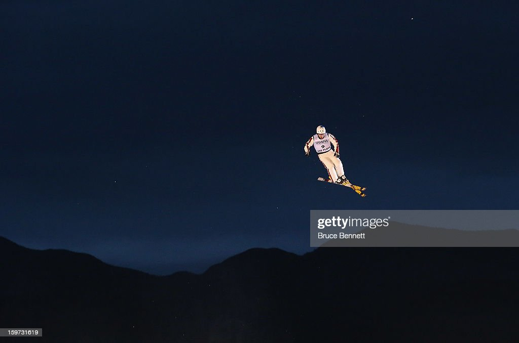 Olivier Rochon #9 of Canada takes a practice jump prior to the qualification round in the USANA Freestyle World Cup aerial competition at the Lake Placid Olympic Jumping Complex on January 19, 2013 in Lake Placid, New York.