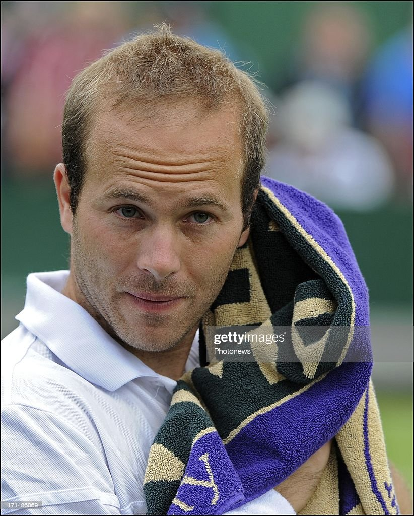 Olivier Rochus of Belgium is seen on day two of Wimbledon on 25 June, 2013 in London, England.